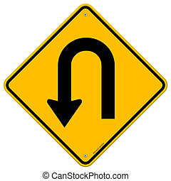 U-Turn Roadsign - Yellow road sign with turn symbol isolated...