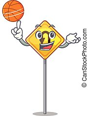 U Turn Sign 4 - With basketball u turn sign on edge road...