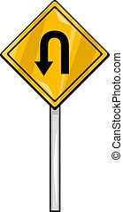 u turn sign clip art cartoon illustration - Cartoon...
