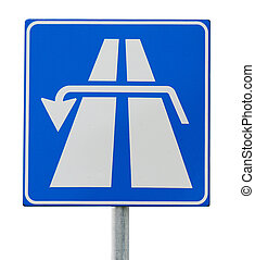 u turn sign on white
