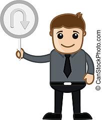 U Turn Sign Vector - Cartoon Man Showing U Turn Signboard...