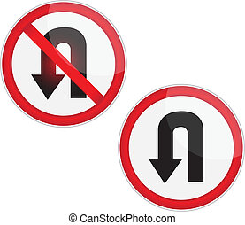 U Turn Signage.Vector - Set of variants a U-Turn forbidden