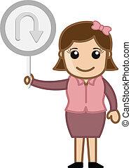 U Turn Vector - Cartoon Girl Showing U Turn Signboard Vector...