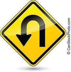 u-turn, vetorial, sinal