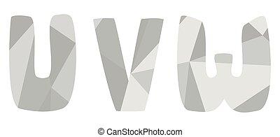 U, v, w grey alphabet letter vector set isolated on white background