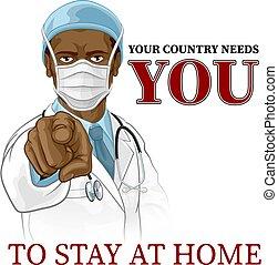 u, verblijf, wijzende, arts, behoeftes, poster, thuis