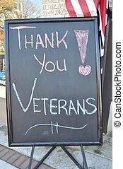 u, veteranen, danken, meldingsbord