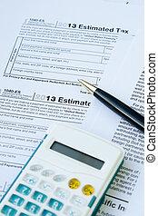 u, vorm, pen, belasting, s, rekenmachine