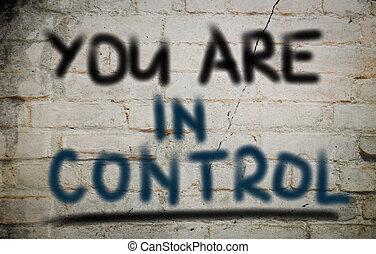 u, zijn, in controle, concept