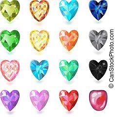 %u0421olored heart cut gems