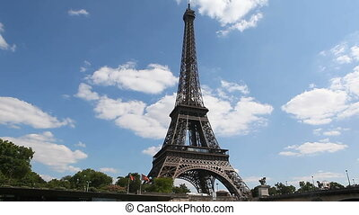 %u0441ruising along the river Seine with a view of the Eiffel tower in Paris, France 1080%u04451920 HD video