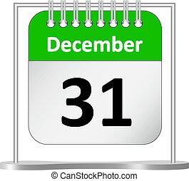 %u2013, diciembre, calendario, 31, c/