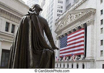 New York Stock Exchange - UA Flag in front of New York Stock...