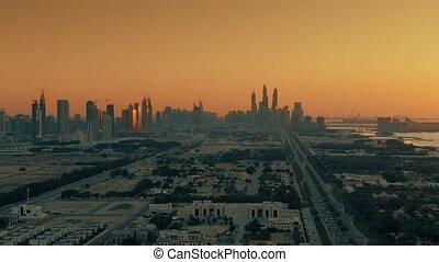 uae, aérien, résidentiel, dubai, coup, jumeirah, secteur, côtier, coucher soleil