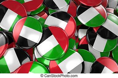 UAE Badges Background - Pile of UAE Flag Buttons.