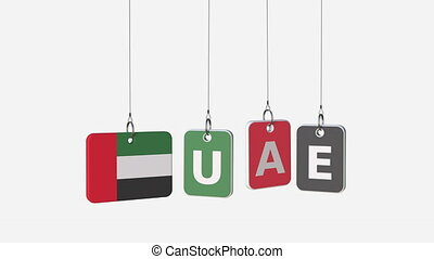 UAE caption and flag of the United Arab Emirates on plates, loopable intro animation. Alpha matte for easy background change