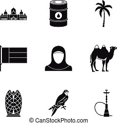 UAE country icons set, simple style