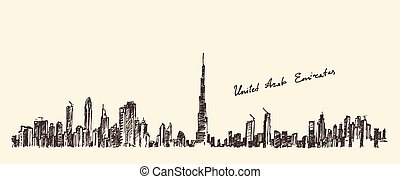 UAE Dubai City Skyline Hand Drawn, Engraved Vector