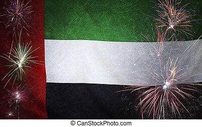 UAE Flag Firework Grunge Concept real fabric