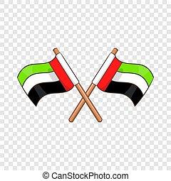 UAE flag icon, cartoon style