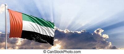 UAE flag on blue sky. 3d illustration