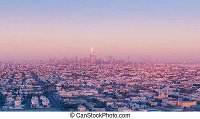 uae, horizon, soir, aérien, dubai, beau, emirats, uni, vue, arabe