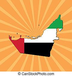 UAE map flag on sunburst