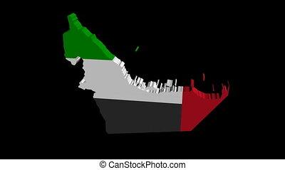 UAE map flag rotating animation
