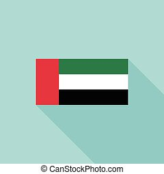 UAE or united arab emirates flag, flat design vector with official proportion