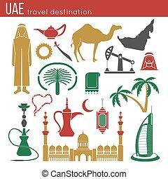 UAE travel concept map. Flat Icons Design.