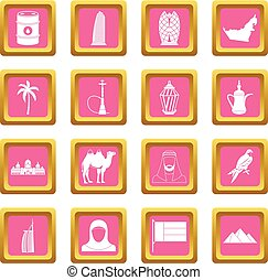 UAE travel icons pink