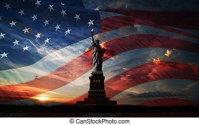 uafhængighed, day., frihed oplyse verdenen