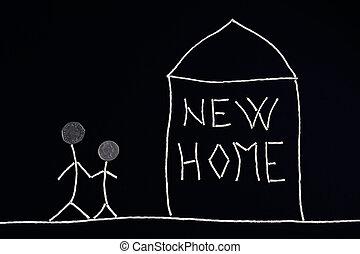 ualmindelige, begreb, familie, nye, nyd, hjem