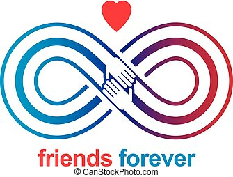 ualmindelige, uendelighed, venskab, altid, to, symboler, vektor, hægt, menneske, logo, everlasting, kammerater, hands.