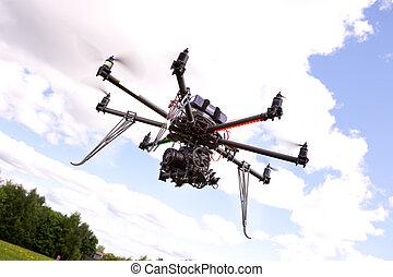 uav, 写真撮影, ヘリコプター