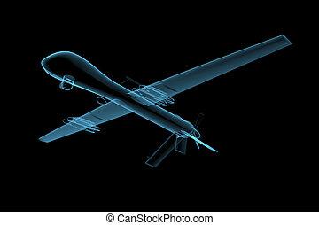 UAV predator drone (3D x-ray blue transparent isolated on...