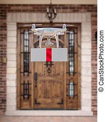(uav), quadcopter, rendszer, átadó, repülőgép, henyél, doboz, piros, unmanned, otthon, szalag