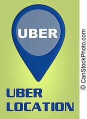 uber, concepto, ubicación