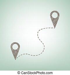 ubicación, alfiler, navegación, mapa, gps, signo., vector., marrón, lino, icono, en, fondo verde, con, luz, punto, en, el, center.