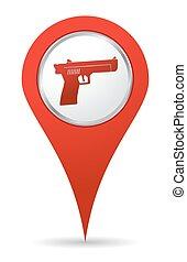 ubicación, arma de fuego, icono