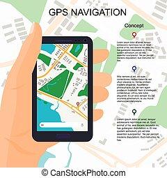 ubicación, ilustración, en, smartphone, en, mano.