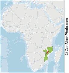 ubicación, mozambique, áfrica, república, mapa
