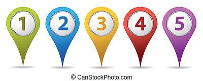 ubicación, número, alfileres