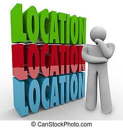ubicación, palabras, pensamiento, persona, dónde, para vivir, área de trabajo