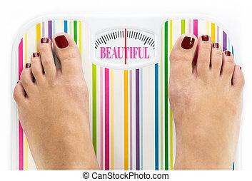 """ubikacja czyszczą z łusek, słowo, """"beautiful"""", nakręcać, feet"""