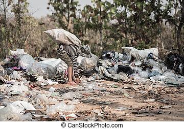 ubogi, concept., ludzki, ubóstwo, pojęcie, odpadki, dziecko...