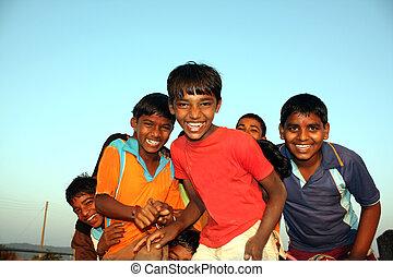 ubogi, dzieciaki, szczęśliwy