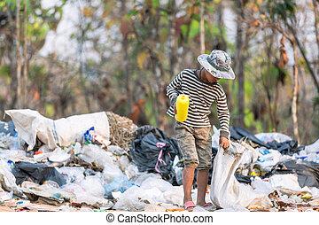 ubogi, tracić, zbieranie, chłopiec, odpadki, pojęcie, ...