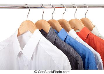 ubranie wieszak, z, koszule