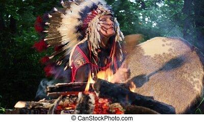ubrany, kostium, interpretacja, szaman, bęben, kobieta
